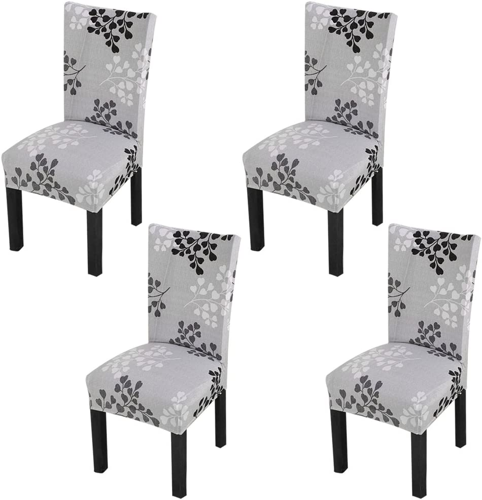 YISUN Stretch Dining Chair Covers Removable Washable Short Dining Chair Protect Cover for Hotel,Dining Room,Ceremony,Banquet Wedding Party (Grey/Leaf Pattern, 4 PCS)