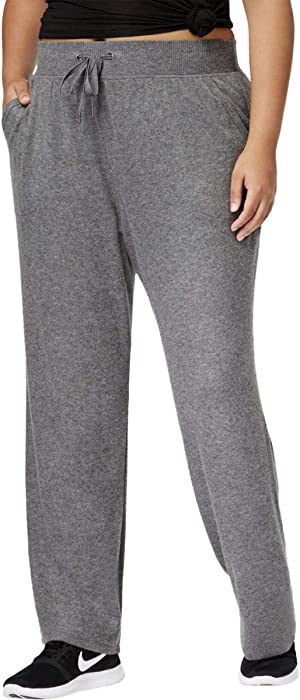 d20df1c9246 Ideology Womens Plus Fleece High-Rise Lounge Pants Gray 3X at Amazon ...