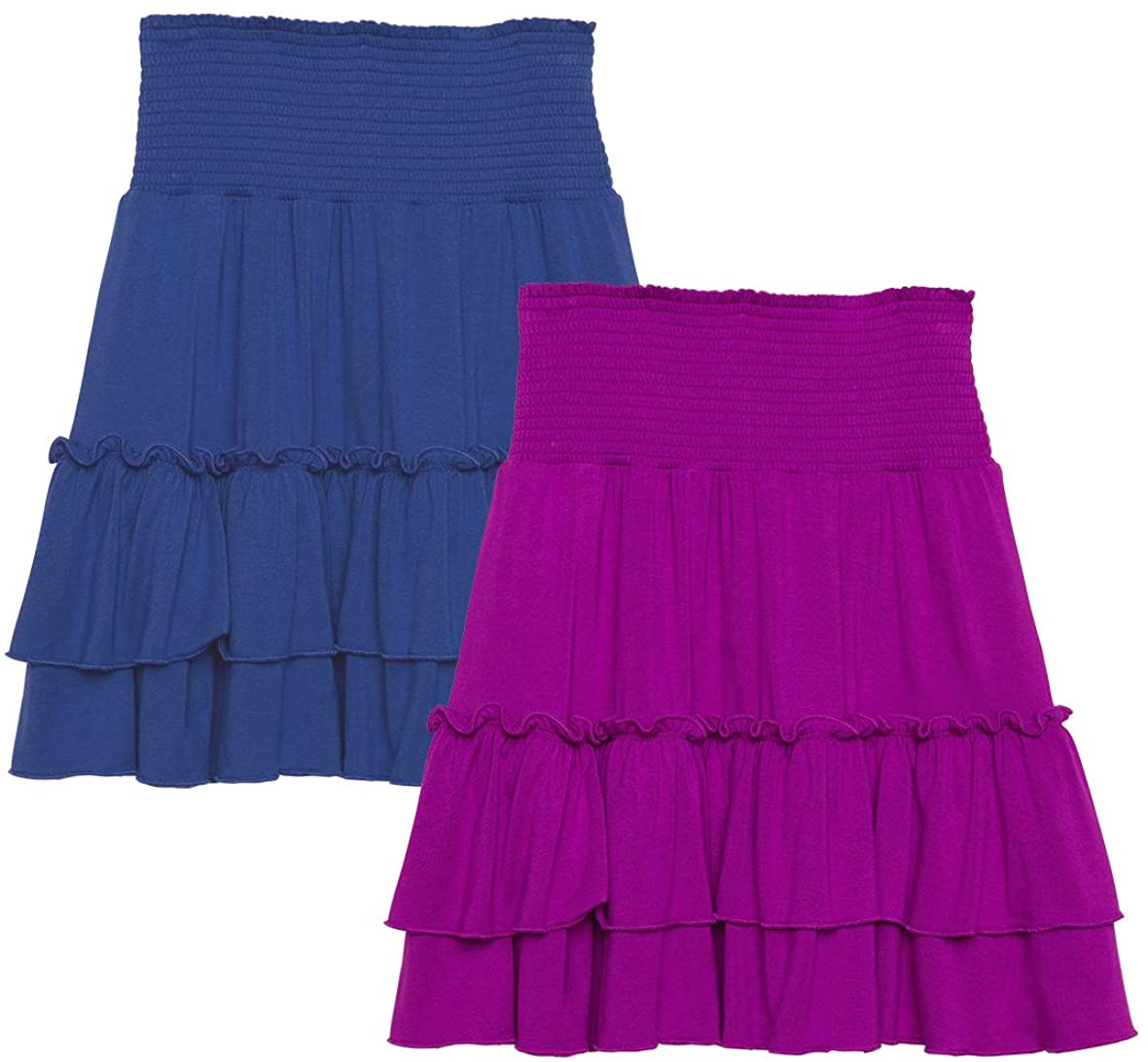 KIDPIK 2-Pack Smock Tiered Skirts - Knee Length Skirt for Girls 4 Years & Up - Comfy Modest Clothing - 2 Colors/Set: Clothing