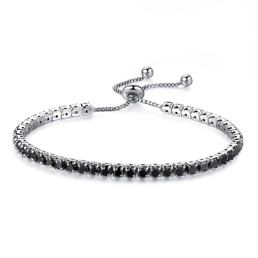 CHOOOICE Adjustable Women black Cubic Zirconia Tennis Bracelet Wedding Engagement Simulated Birthstone Jewelry
