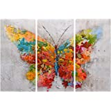 eCraftIndia Set of 3 Colorful Butterfly Canvas Painting