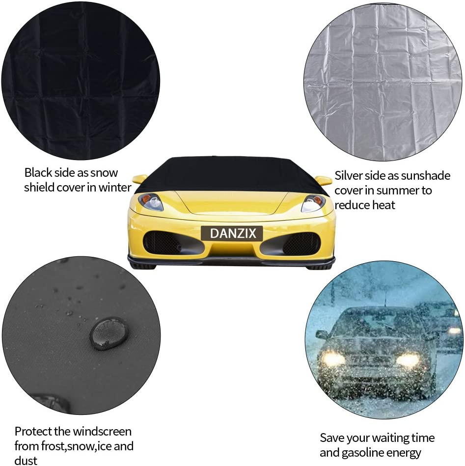 47inch Fits for Most Car SUV Truck Van DanziX Car Windshield Snow Ice Cover Free Silicone Water Wiper Sunshade Protector with Magnetic Edges Waterproof Windproof Dustproof 83