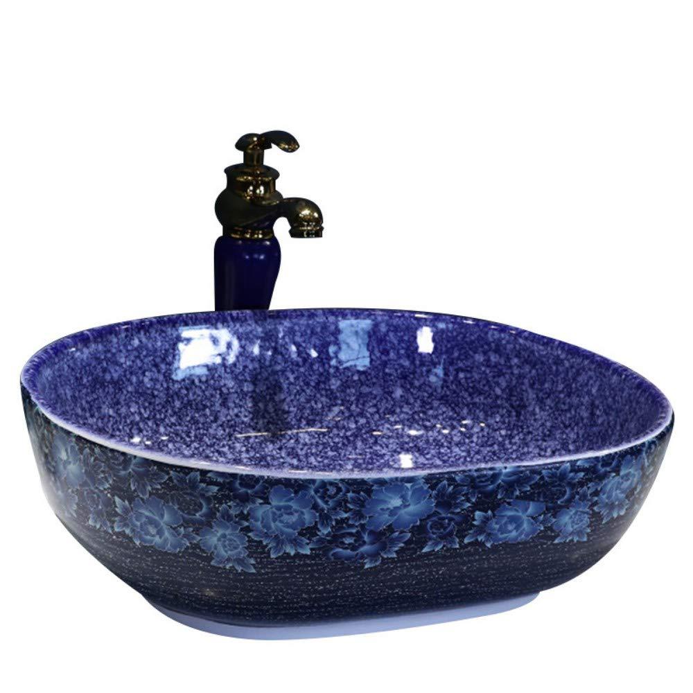 H NIGHT WALL Unique Bathroom washbasin Art Basin Landscape Flower Ceramic Round Above Counter Basin Simple Literary Square Appliques Wash Basin, HArtistic Vessel Vanity Sink BowlSuitable