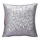 Napoo 2018 Glitter Sequins Pillow Case Cafe Home Decor Throw Cushion Covers (45cm45cm, Silver)