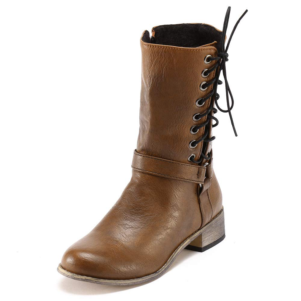 Women Retro Cross-Tied Non-Slip Round Toe Wear Resistant Knight Middle Tube Knig Boots