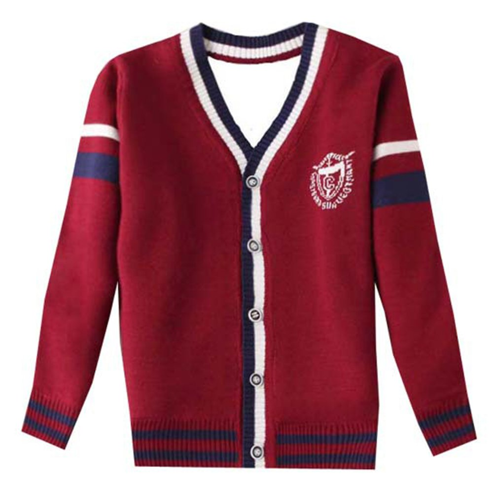 Tueenhuge Little Girls Boys Crewneck Sweater Cardigan Button Knitted Uniform Sweaters