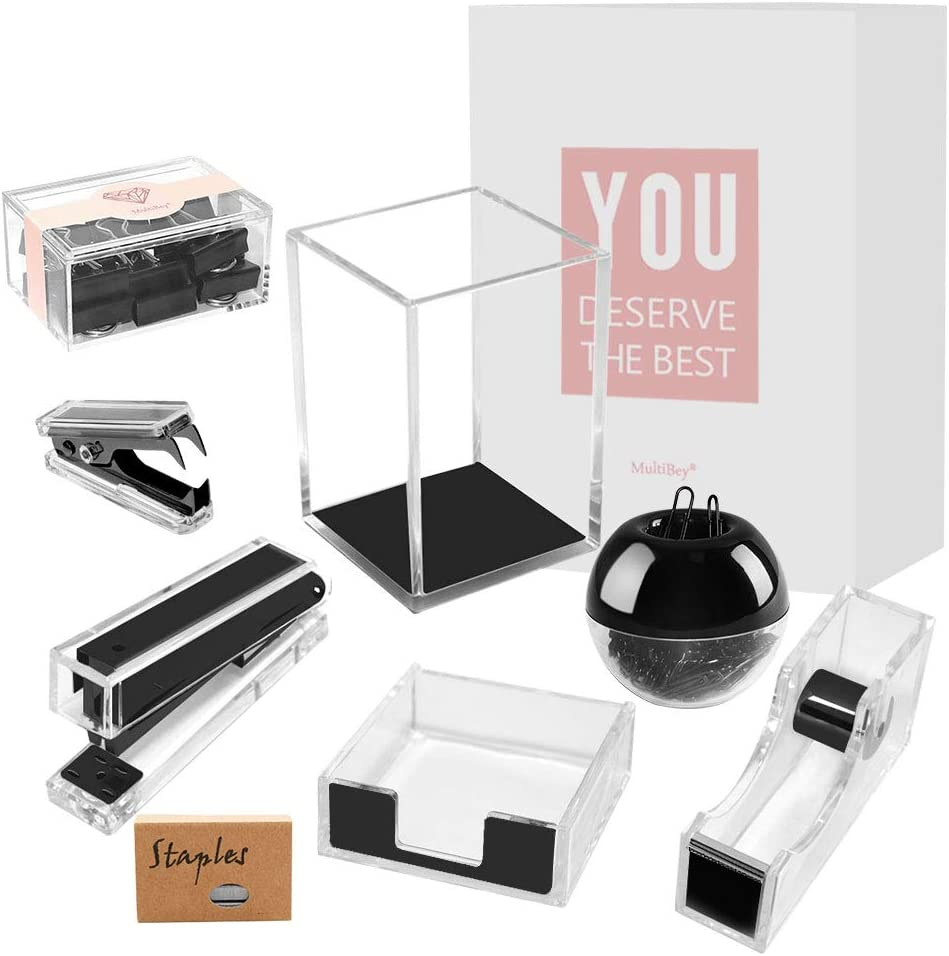 Black Acrylic Desk Accessories Organizer Set Tape Dispenser,Stapler, Staples Remover, Pen Holder, Magnetic Paper Clip Dispenser, Binder Clips, Sticky Note Holder Office Supplies Organization Gift