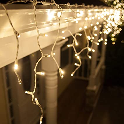 70 5mm Warm White LED Icicle Lights, 7' on White Wire, White Christmas Icicle Lights Wiring Diagram For Christmas on