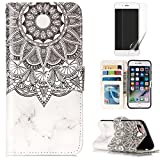 For iphone 7/iphone 8 Case with Card Slot,OYIME [Colorful Painting Pattern] Relief Design Bookstyle Leather Wallet Holster Kickstand Function Full Body Protection Bumper Magnetic Closure Flip Cover with Wrist Lanyard and Screen Protector - Marble Mandala