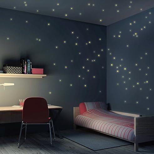 Schlafzimmer Sternenhimmel amazon de wandtattoo sternenhimmel 100er set leuchtsterne