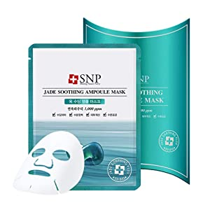 SNP - Jade Soothing Ampoule Korean Face Sheet Mask - Clenses & Purifies All Sensitive Skin Types with Calming Effects - 10 Sheets - Best Gift Idea for Mom, Girlfriend, Wife, Her, Women