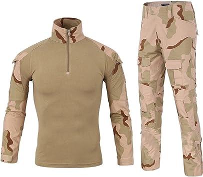 LANBAOSI - Camisa de combate militar para hombre, uniforme táctico, secado rápido, manga larga y pantalón, traje de combate, pantalón militar, paintball: Amazon.es: Deportes y aire libre