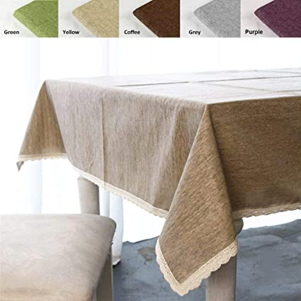 ColorBird Solid Cotton Linen Tablecloth Water Resistant Macrame Lace Table Cover for Kitchen Dinning Tabletop Decoration & Amazon.com: ColorBird Solid Cotton Linen Tablecloth Water Resistant ...
