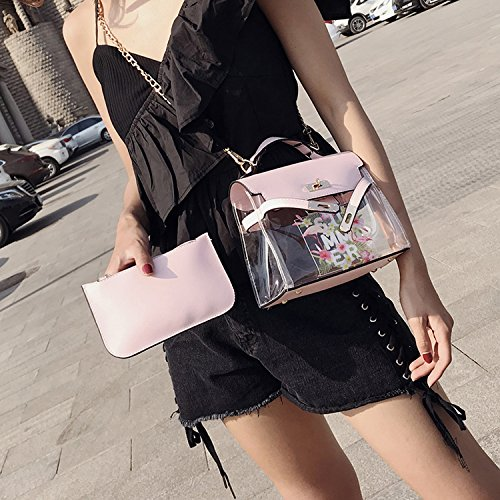 2018 slung shoulder Yellow single bag Summer flamingo pattern fashion printed transparent 8x0rwP8qS
