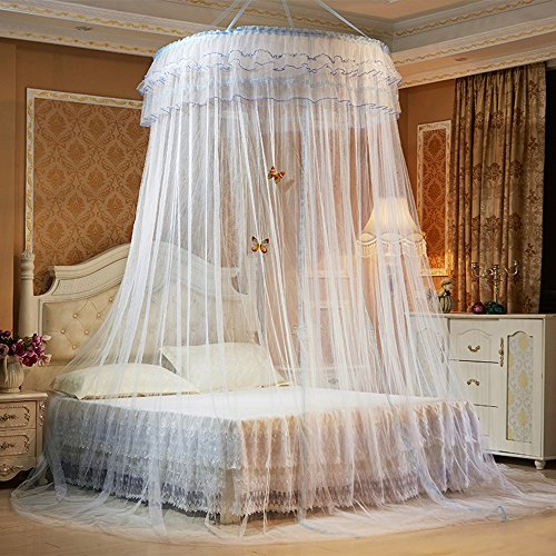 Kxtffeect Luxury Princess Pastoral Lace Bed Canopy Net Crib Luminous butterfly, Round Hoop Princess Girl Pastoral Lace Bed Canopy Mosquito Net Fit Crib Twin Full Queen Extra large Bed (White)