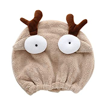 793205ee649 TShopm Adult Child Cute Cartoon Animal Hair Drying Cap Candy Color Funny 3D  Big Eyes Turban Hat Towel Thicken Stretchy Bath Shower Head Wrap   Amazon.co.uk  ...