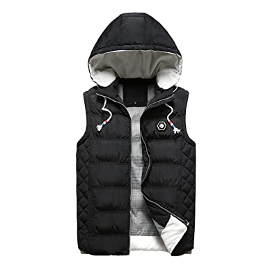 740d34ebf5f Beuniclo Men s Puffer Vest Active Gilet Padded Vest Men Sleeveless Jacket  Removable Hooded Winter Outwear Jacket
