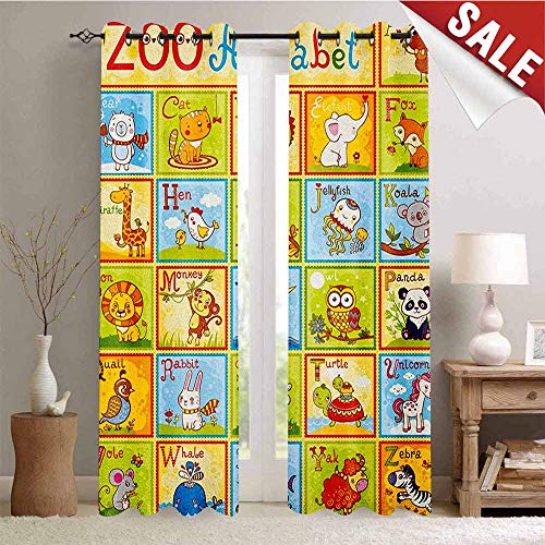 - Hengshu Educational Customized Curtains Zoo Alphabet Design Colorful Style Funny Cartoon Animals Children Kids School Window Curtain Drape W96 x L108 Inch Multicolor