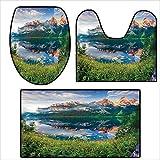 qianhehome 3 Piece Bathroom Rug Set Bath Rug,Austrian Alps in The Spring by The Lake Crystal Mirror Water Fairy Season Photo Contour Mat, Lid Cover Non-Slip 15.7''x15''-23.6''x19.6''-35.4''x23.6''