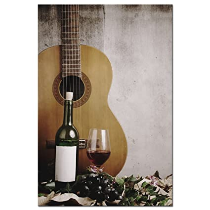 Amazon.com: LevvArts Vintage Wall Art Red Wine and Acoustic Guitar ...