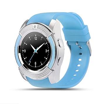 LHWY V8 Reloj Inteligente Bluetooth Recordatorio Anti - Lost Camara Monitor Para iOS Android (azul): Amazon.es: Deportes y aire libre