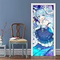 Fadesoue 3D-deursticker, zelfklevend deurplakkaat Pvc, waterdicht deurbeeld - schattig meisje blauw…