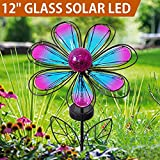 "BRIGHT ZEAL 12"" Large METAL & GLASS Solar Flowers Yard Art - Outdoor Garden Decorations LED Solar Garden Statue - Yard Decorations Solar Lights - Flower Lights Backyard Solar Garden Decor BZA"
