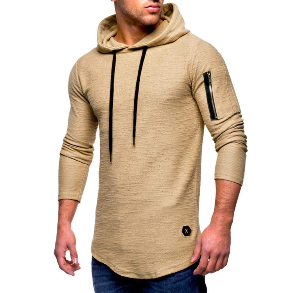 Ankola Hooded Tops Men's Autumn Winter Casual Tops Long-Sleeved Zipper T-Shirt Solid Hoodie (XL, Khaki)