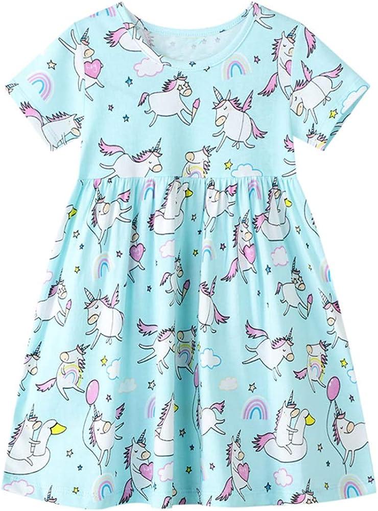 Smazero Baby Girls Summer Dresses Short Sleeve Casual Dinosaur Horse Print Shirt Dress Little Kids Clothes Children Age 1-7 Years