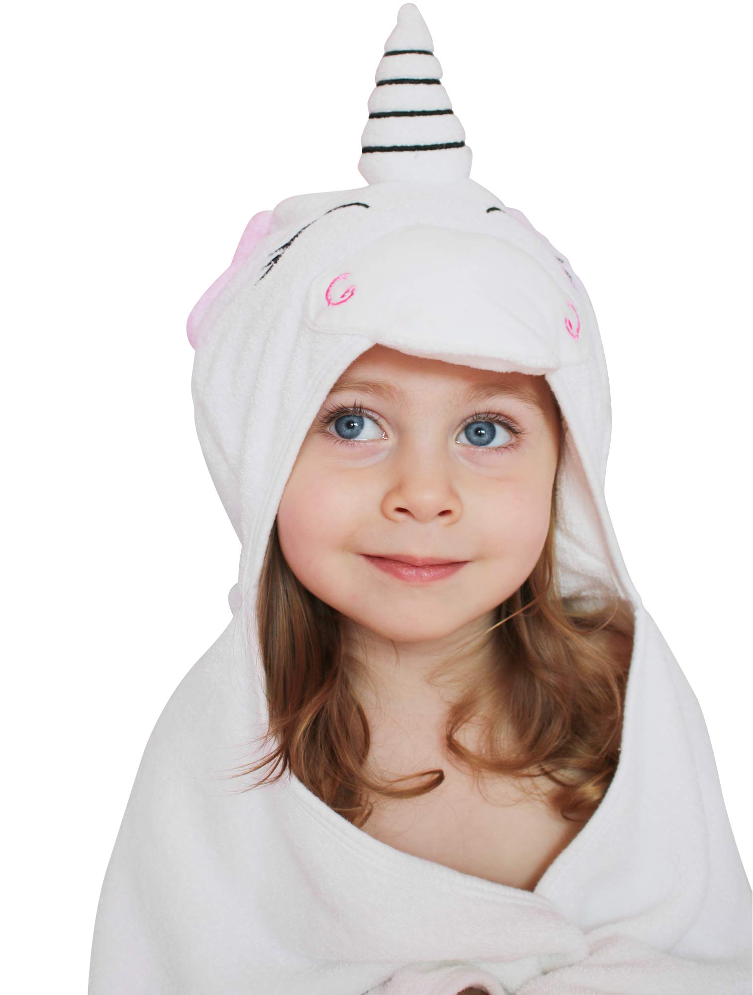 Unicorn Baby Hooded Towel and Washcloth Set - Premium Quality Extra Large 100% Organic Bamboo Cotton - Infant Baby Toddler Children's Girls - Great Baby Shower Gift - Soft Antibacterial 500 GSM by Smart New Mommy