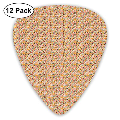 Guitar Picks 12-Pack,Colorful Distorted Heart Shapes Overlapping Design Love And Romance - Hearts Overlapping