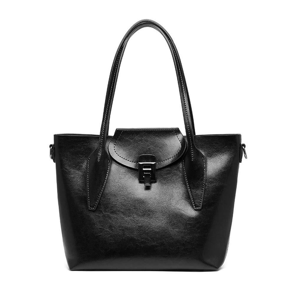 RFVBNM Big Bag Retro Portable Oil Wax Leather Handbag Tote Bag Ladies Shoulder Slung Backpack,Black