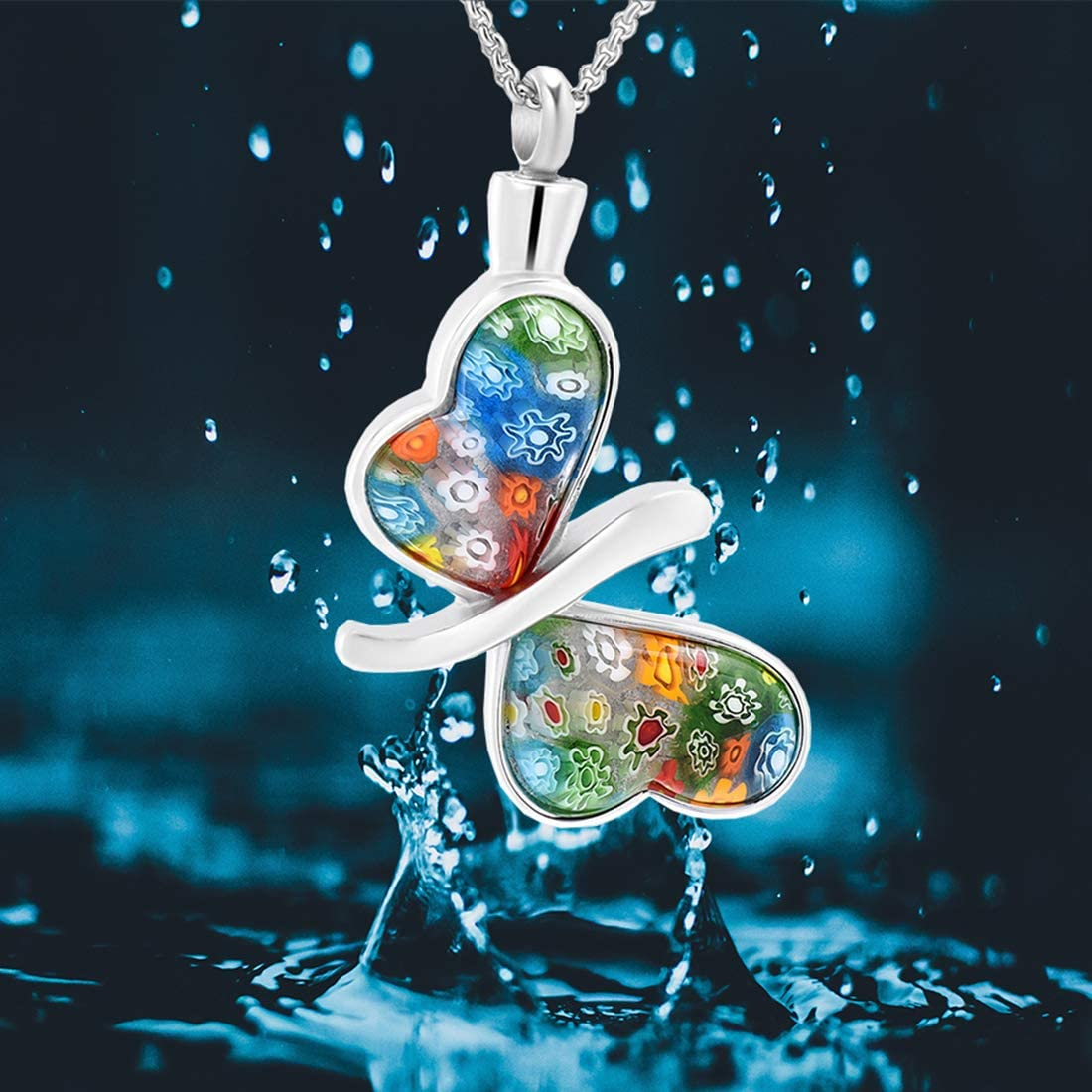 Charming Murano Glass Butterfly Cremation Urn Necklace for Ashes Hearbeingt Memorial Pendant Keepsake Jewelry Come with Filling Kit