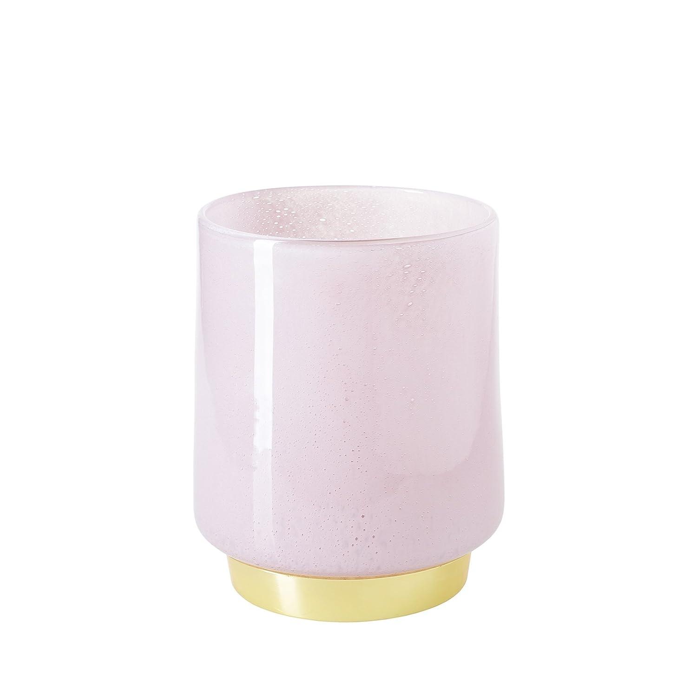 CASAMOTION Vase Hand Blown Art Glass Vase with Brass Base,Bubbles Table Flower Vase,Décor Gift Box,Light Beige Powder,17.8cm H