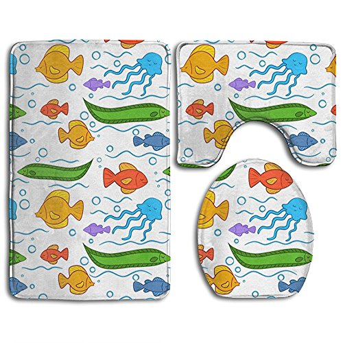 3-Piece Color Marine Life Non-Slip Bath Mat Rug Set Contour And Lid Cover