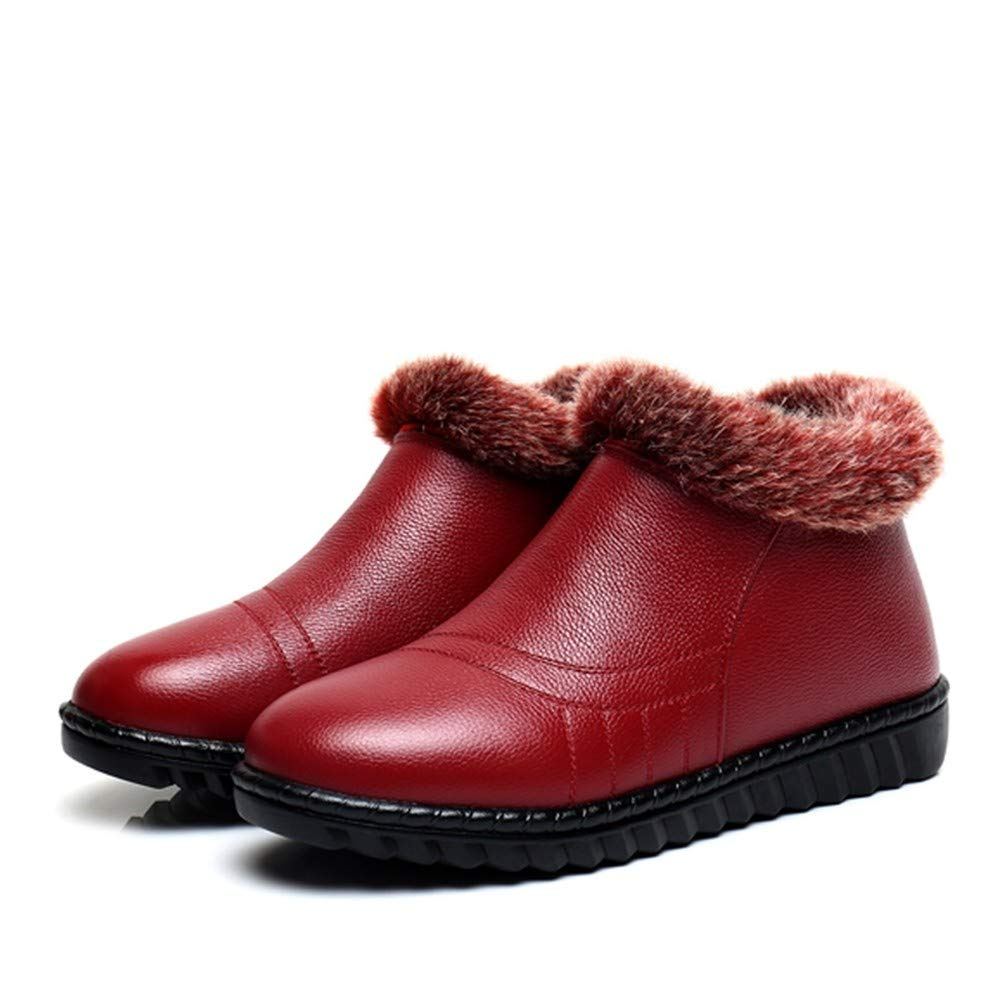 PINGXIANNV Damen Stiefel Damen Winterstiefel Wasserdichte Leder Schneeschuhe Winter Damen Trend Baumwolle Gepolsterte Schuhe