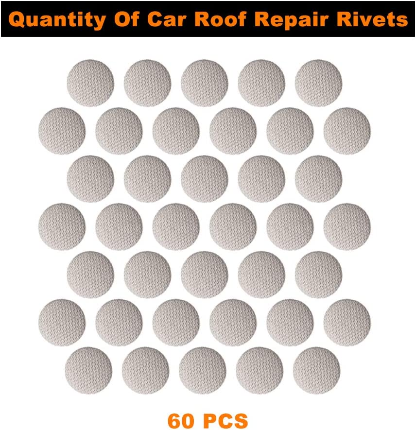 Auto Roof Snap Rivets Retainer Design for Car Roof Flannelette Fixed Car Roof Headliner Repair Button 60 pcs Fit All Cars with Installation Tool