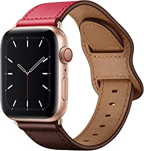 KYISGOS Compatible with iWatch Band 44mm 42mm 40mm 38mm, Genuine Leather Replacement Band Strap Compatible with Apple Watch SE Series 6 5 4 3 2 1 (Chocolate Rose/Rose Gold, 44mm/42mm)