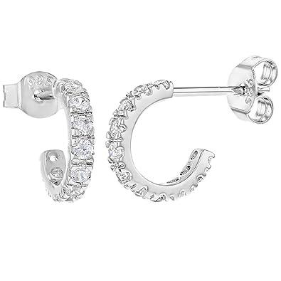 94eb8eddd 925 Sterling Silver Clear CZ Small Half Hoop Comfortable Stud Earrings:  Amazon.co.uk: Jewellery