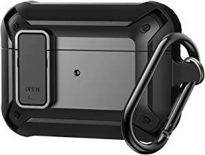 Olytop Armor Airpods Pro Case, [Secure Lock] Air Pods Pro Full-Body Rugged Protective CaseMen Charging Skin Shockproof iPods Case Cover with Carabiner for Apple Airpods Pro - Black