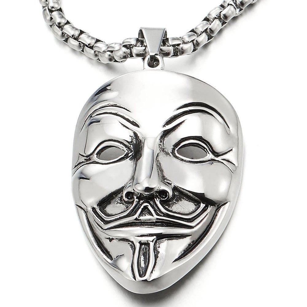 COOLSTEELANDBEYOND Edelstahl Clown Maske Anhä nger Herren Damen Halskette mit 75cm Stahl Weizen-Kette MP-725