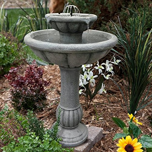 Gorgeous Top Selling Solar On Demand Glass Fiber Reinforced Concrete Two-Tier Custom Bird Bath- Refreshing Restful Streams Of Running Water Create True Garden of Eden Effect For Your Home Garden