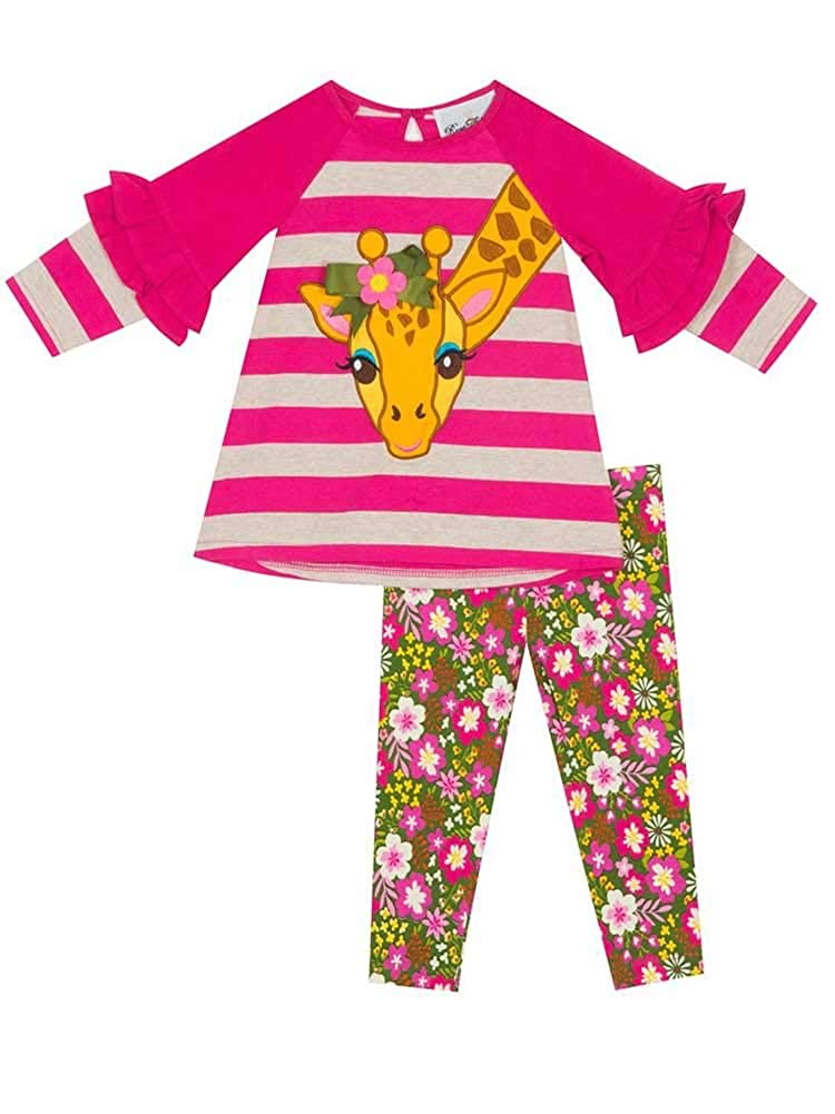 Fuchsia Rare Editions Toddler Girls 2-Piece Striped Giraffe Top /& Pants