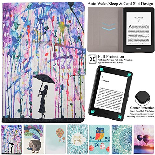 Kindle 558 (8th Gen) Case, Artyond PU Leather Card Slot Case With Auto Wake/Sleep Feature Smart Magnetic Closure Folio Flip Cover For Amazon Kindle 558 (8th Generation) 2016 Version (Painting) by Artyond