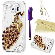 Mavis's Diary Samsung Galaxy S6 Case 3D Handmade Bling Crystal Luxury Peacock Purple Gems Clear Case Shiny Glitter Diamonds Twinkly Gems Hard PC Cover & Dust Plug & Stylus