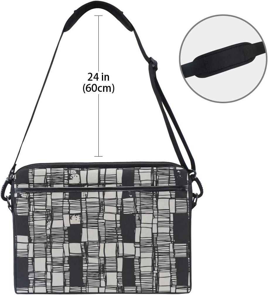 Briefcase Messenger Shoulder Bag for Men Women College Students Business People Office Workers Laptop Bag Abstract Irregular Sketched Block Textured 15-15.4 Inch Laptop Case