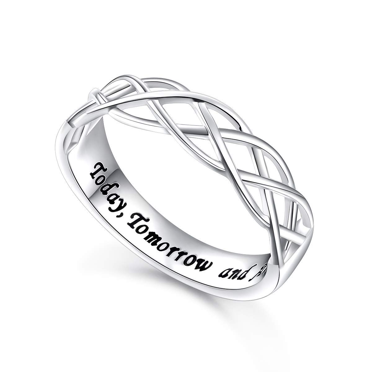 Flyow Wedding Ring Sterling Silver Engraved Today Tomorrow Always Celtic Lover Engagement Ring, Size 6-8 (8)