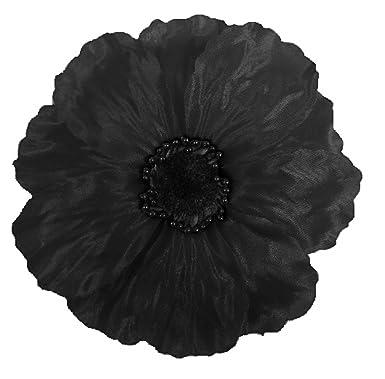 Black Large Shimmery Flamenco Poppy Flower Satin Pin Brooch Hair