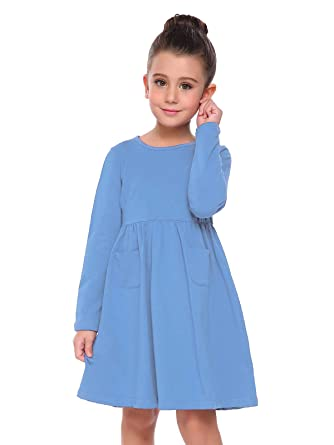 402f6d1bf6a Arshiner Little Girls Long Sleeve Solid Color Casual Skater Dress Blue  90(Age for 2