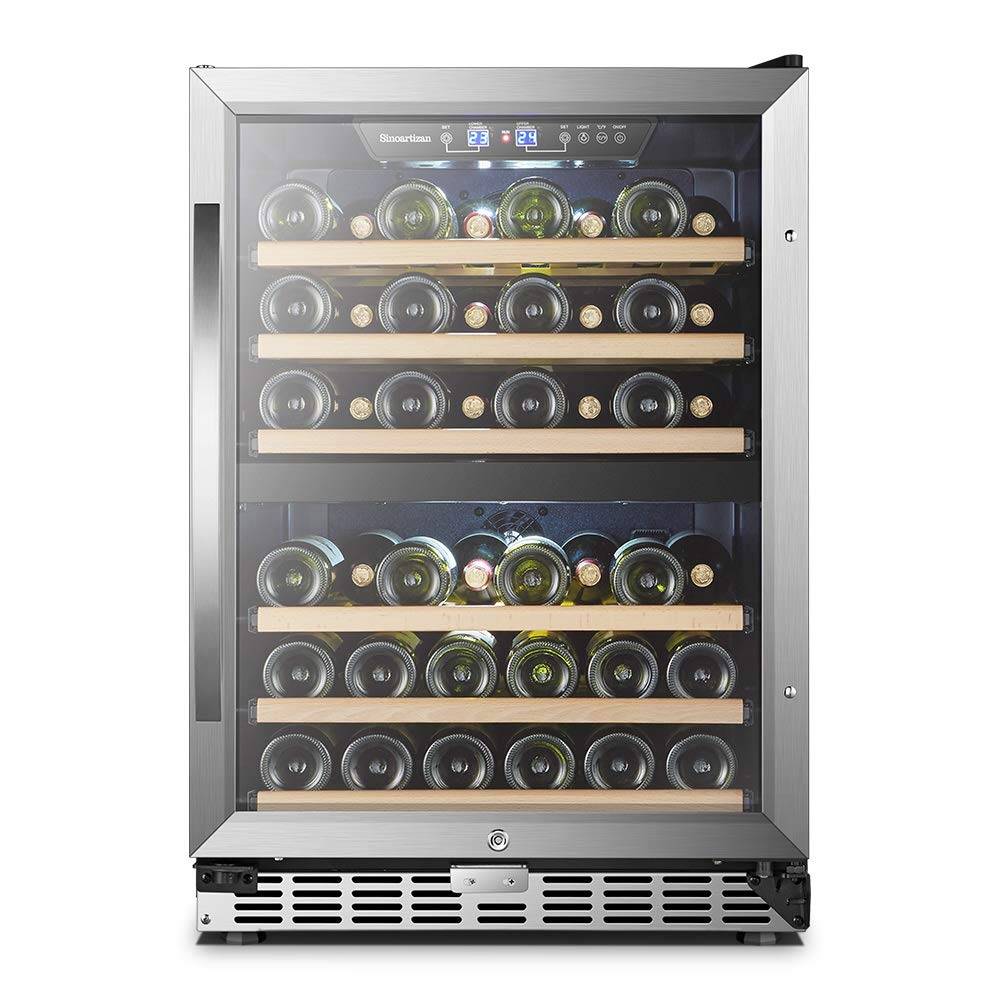 24 Inch 44 Bottles, Sinoartizan Built-in Dual Zone Wine Refrigerator Cooler